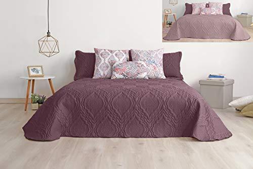 Secaneta Stilia Colcha y Funda de Cojín con Diseño de Quilteado, Multicolor (Púrpura/Siena), 250 x 270 cm