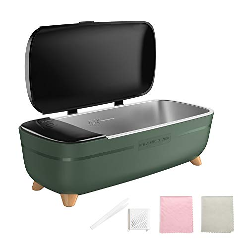 Zeonetak Ultrasonic Cleaner, Professional Ultrasonic Jewelry Cleaner, Portable Household Jewelry Cleaner Ultrasonic Machine for Cleaning Eyeglasses, Rings, Coins, Watches, Dentures, Utensils(Green)