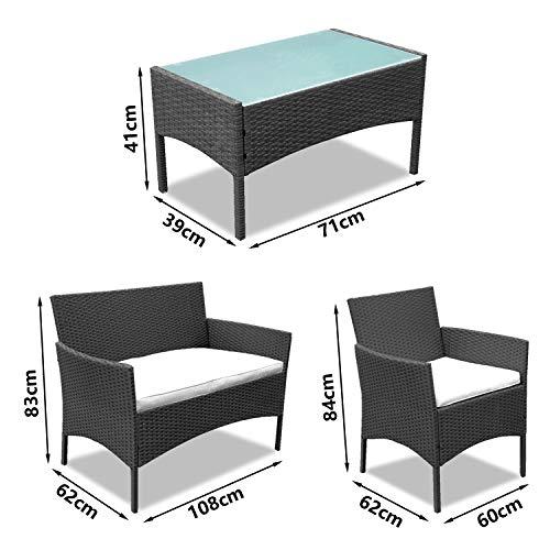 BMOT Gartenlounge Set, Balkonmöbel Set für 4 Personen, Schwarz, 7 TLG, mit Tisch, Sitzkissen waschbar, Kunststoff, Flache Rattanoptik, für Balkon oder Terrasse - 6