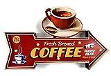 DiiliHiiri Cartel Retro Luminoso Café Cafeteria Restaurante Bar Vintage Letrero Metálico de Artesanía Accesorios para Decoración Hogar de los Años 50 (Coffee Served Here)