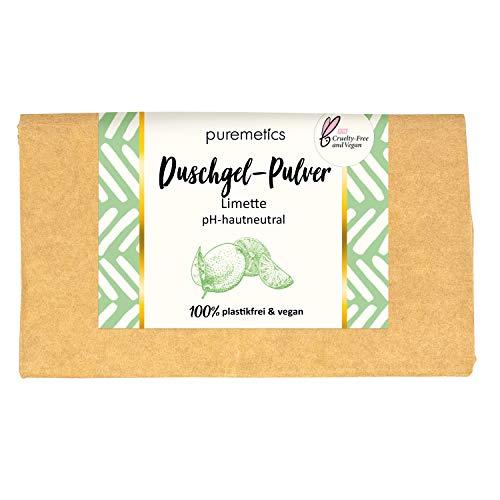 puremetics Zero Waste Duschgel Pulver | für alle Hauttypen | vegan & plastikfrei | ohne Tierversuche (Limette)