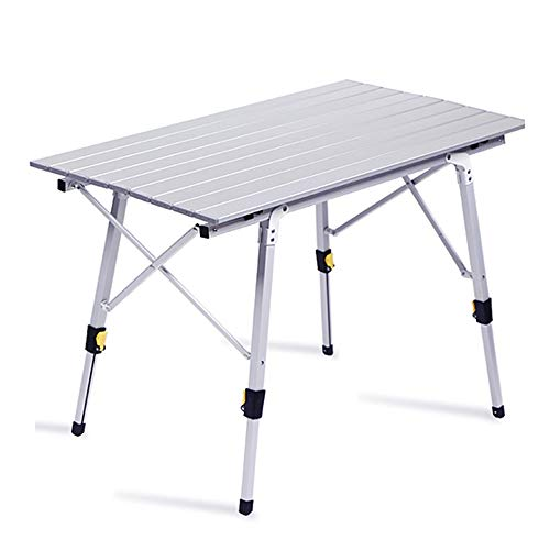 Mesa Plegable para Picnic Al Aire Libre, Camping, Mesas Elevadoras Portátiles De Aluminio Ultraligeras para Viajes,Bolsa De Almacenamiento De Regalo (Color : Silver, Size : 90 * 52 * 65cm)