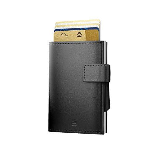 Ögon Smart Wallets - Cascade Wallet Automatischer Kartenetui Brieftasche für 8 Karten und Banknoten, RFID-Blockierung - Leder und Aluminium (Silber Schwarz)