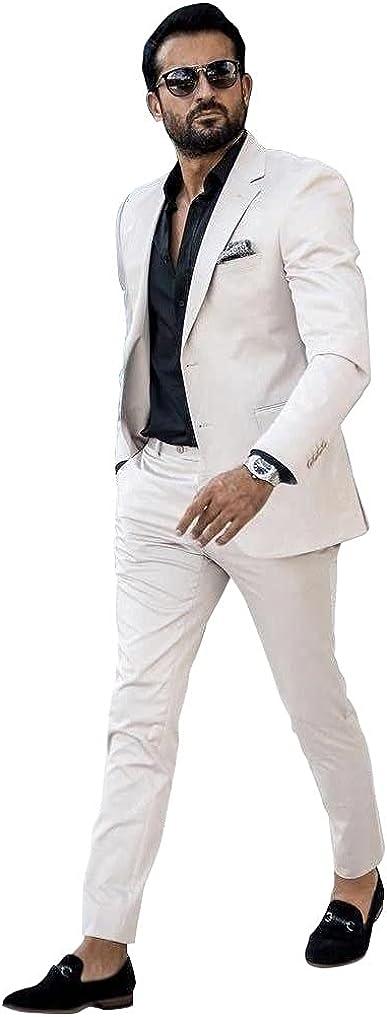 Men Ivory Wedding Suits Separate Best Man Groom Wear Slim Fit Suit Set(Jacket+Pant)