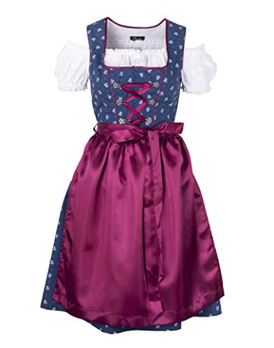 Ramona Lippert - Damen Dirndl Helga 2-teilig in blau 40 - Dirndlkleider für Jede Größe - wunderschönes Trachtenkleid - Tracht mit Schürze