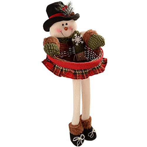 WeRChristmas Snowman Christmas Wicker Basket Table Decoration, 45 cm - Red and Green Tartan