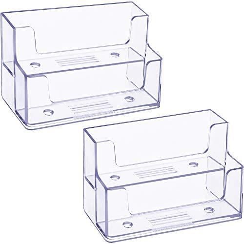 2 Pack Soporte de Tarjetas de Visita Transparente Organizador de Tarjetas de Plástico de 2 Niveles Tarjeteros para Hogar Oficina, 120 Tarjetas de Capacidad