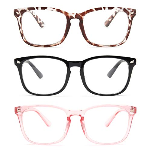 Gaoye 3-Pack Reading Glasses Blue Light Blocking Computer Readers Anti UV Ray Fashion Square Nerd Eyeglasses Frames Women Men (Light Black & Leopard & Clear Pink, 1.5)