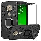 YundEU Hülle für Motorola Moto G7 Play mit schutzfolie, Hybrid Rüstung Defender Ganzkörperschutz Heavy Duty Hard Bumper Silikon Handyhülle stossfest Schutzhülle Case Tasche mit Kickstand, Schwarz