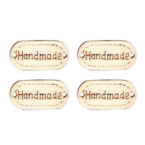 150 piezas de etiquetas hechas a mano, etiquetas de madera, botones artesanales, adornos, 2 agujeros, botones de forma ovalada para manualidades, costura, decoración de ropa