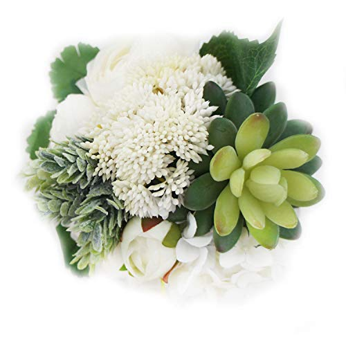 Lily Garden Hydrangea Berry Succulents Plant Ranunculus Wedding Bouquet (White)