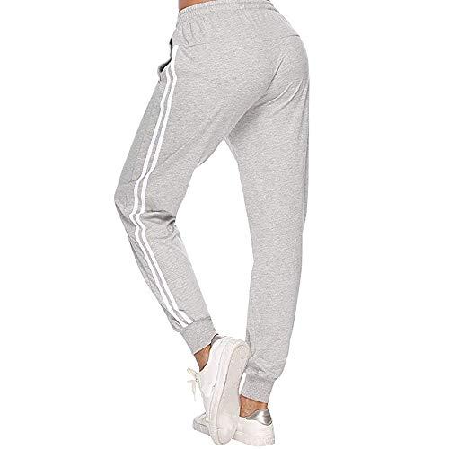 Vertvie Damen Jogginghose Trainingshose Sporthose Hosen Sportpants Motiv Damenhose Fitnesshose Freizeithose Fußballhose Joggpants Sweatpants Sweathose (Grau, S)