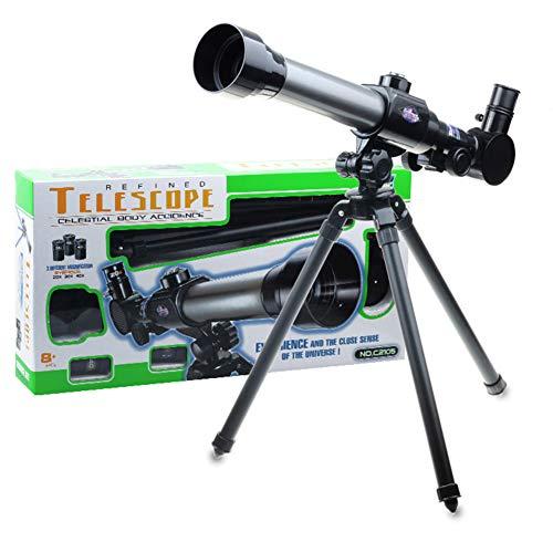 LMYG Telescopio para niños, telescopio de Ciencia Ajustable para niños de 20x30x40, Apto para niños Principiantes observación astronómica, trípode de Ojos con brújula de Juguete con Estrella