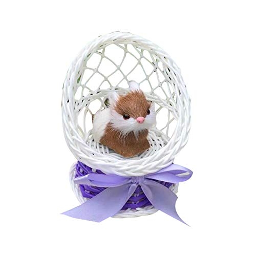 qiguch66 Vintage Easter Eggs,Simulation Faux Fur Rabbit Sitting in Basket Figurine Toy Home Table Ornament - Purple
