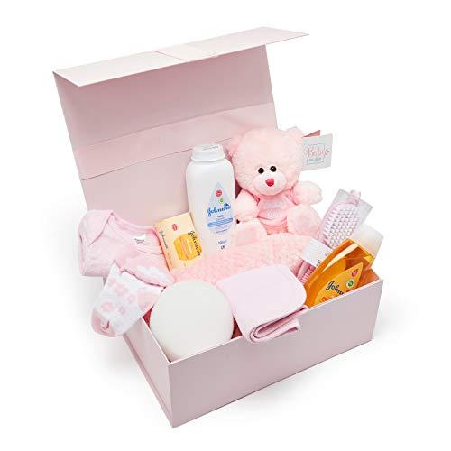 Baby Box Shop - Cesta regalo bebe - Regalos originales para baby shower con esenciales para bebes recien nacidos que incluye oso de peluche y caja recuerdos rosa