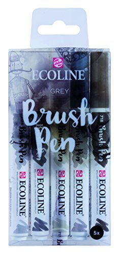 "Talens Ecoline 5 brush pens ""Grey"""