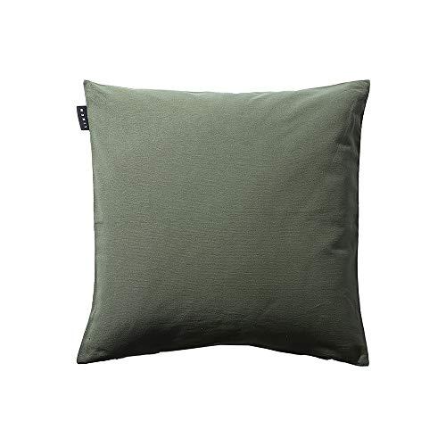 Linum Annabell Funda de cojín Elegante para Manta de Almohada Lavable a máquina, algodón, Verde Oliva Oscuro, 50 x 50 cm