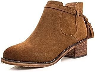 Leather Tassels Short Boots Women'S Round Of Martin Boots