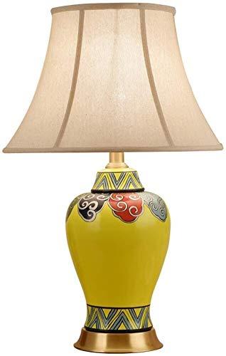 DJSMtd Estilo chino de cobre clásico de cerámica simple lámpara de mesa paño pantalla pantalla dormitorio lámpara de mesita de noche Living Room Studio Art Fashion