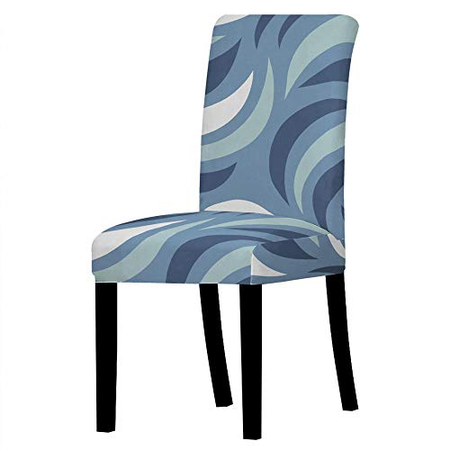 Dining Chair Covers Blue And White Waves Chair Covers Room Stretch Chair Covers Kitchen Chair Cover Cushion Easy Chair Cover, 2-Pack Spandex Dining Chair Slipcovers