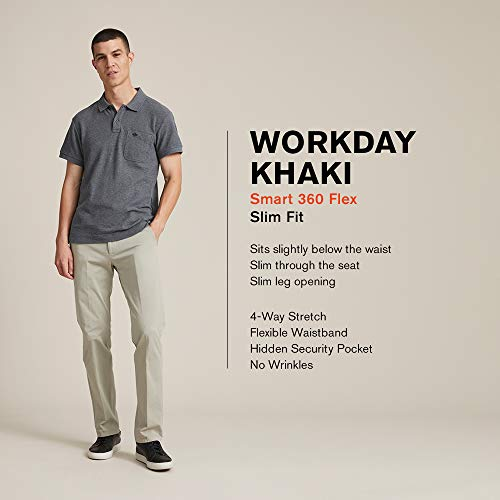 Dockers Men's Slim Tapered Fit Workday Khaki Smart 360 Flex Pants, Pembroke/Stretch, 28W x 28L