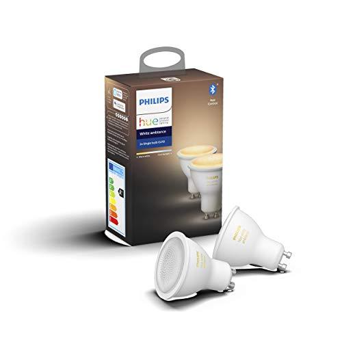Philips Lighting Hue White Ambiance Faretti LED Connessi, con Bluetooth, Dimmerabile, Attacco GU10, 6 W, 2 Pezzi