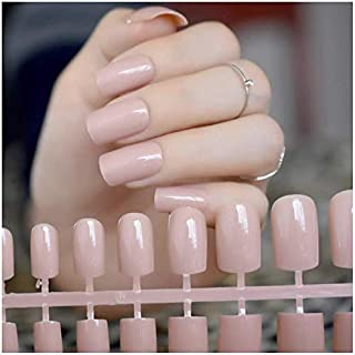 VIKSON INTERNATIONAL Gorgeous Nude set of 12 pcs Long French tip Artificial Art Design False Nails 12 pcs with nail glue