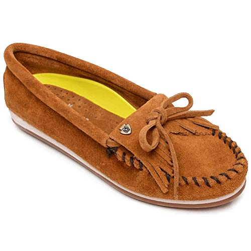 Minnetonka Women's Kilty Plus Suede Moccasins with Water Resistant Treatment 8.5 M Brown