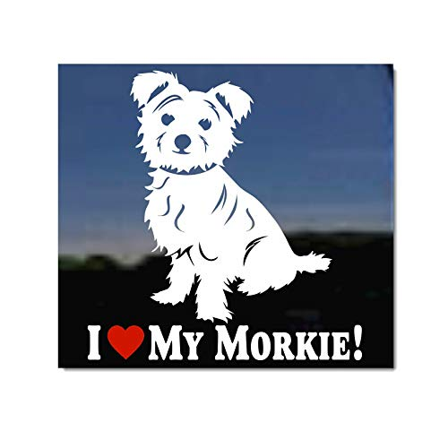 I Love My Morkie| Maltese Yorkie Mixed Breed NickerStickers Vinyl Dog Window Decal - Tipped Ears