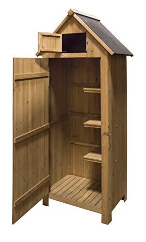 AIRWAVE Outdoor Bideford Garden Wooden Storage Cabinet/Tool Shed H179 x W77 X D54cm (Natural)