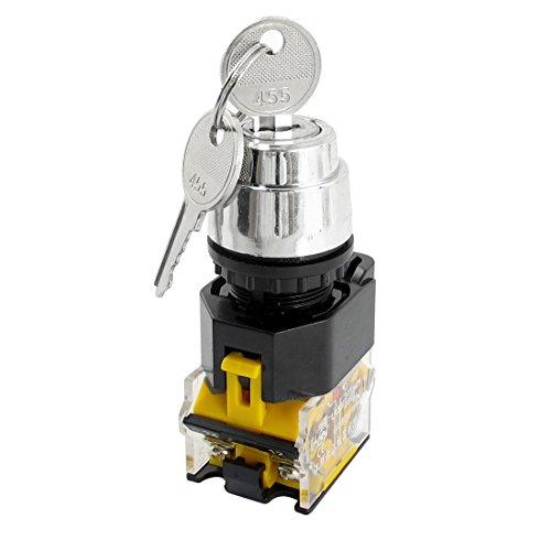 Interruptor selector giratorio de llave de dos posiciones DPT de 380 V 10 A 22 mm de diámetro