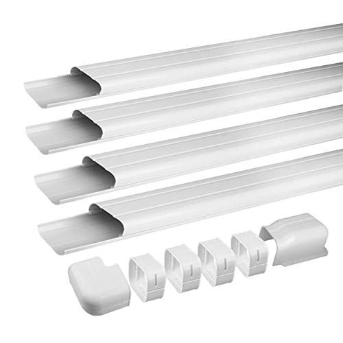 Air Jade 4' 14 Ft AC Line Set Cover Kit, Decorative PVC Tubing Cover for Mini Split and Heat Pumps & Central Air Conditioner, Condenser