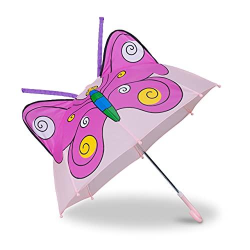 Relaxdays 10022286_624 Kinderregenschirm 3D Schmetterling, Regenschirm f. Mädchen, Kleiner Leichter Stockschirm in Glockenform, rosa