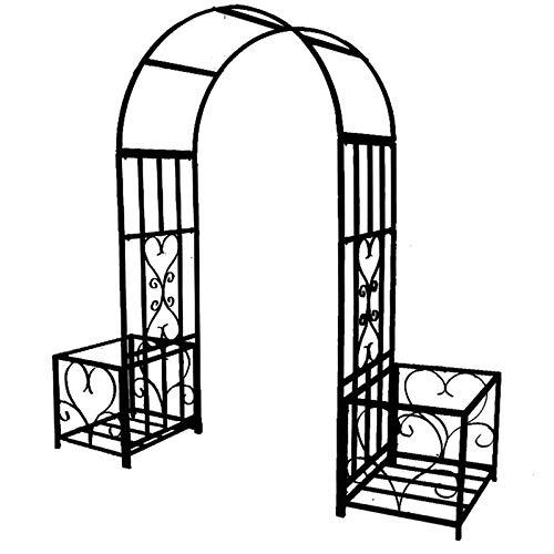 Arco De Rosas con Jardineras, Resistente A La Intemperie, con Recubrimiento De Polvo De Metal, Cenador De Jardín para Varias Plantas Trepadoras, Patio Trasero De Jardín Al Aire Libre, Negro