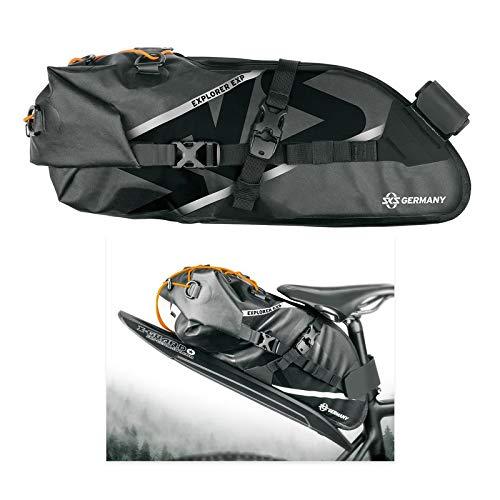 SKS GERMANY Explorer EXP. SADDLEBAG Bolsa para sillín, Unisex Adulto, Negro/Naranja, 13 Liter