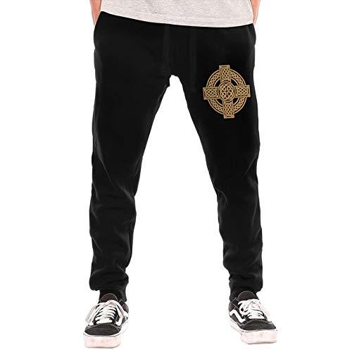 Celtic Cross Irish Scottish Men's Fleece Pants Sweatpants Jogger Track Pants Elastic Inner Fleece Black
