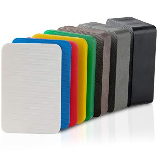 BAUHELD® Universal Unterlegplatten 60x40 mm [40/80/160 Stück] - Mehrfarbige Distanzplatten aus Kunststoff [Made in Germany] - Abstandshalter Keile in den Größen: 1.5, 2, 3, 4, 5, 10, 15, 20 mm