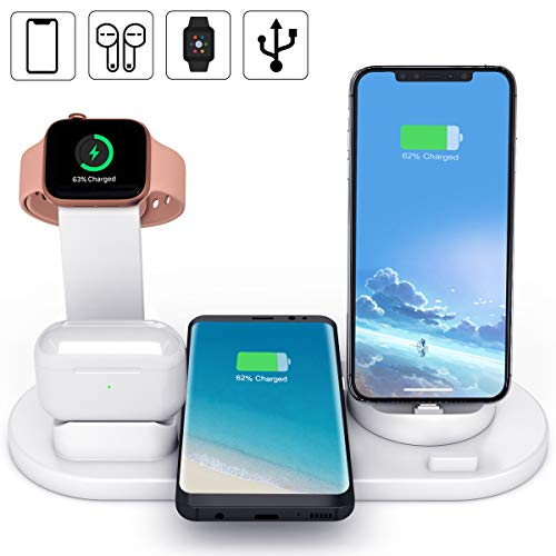 Yaature 6 in 1 Fast Wireless Charger, Qi Kabelloses 10W Induktive Ladestation für AirPods, iWatch 5/4/3/2/1, iPhone 11/XS/XR/X/8, Samsung S10/S8+/S7/Note 9 usw. (mit einem USB Ausgang) - Weiß