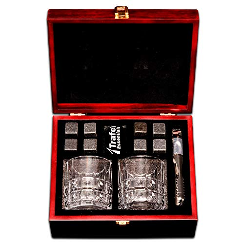 Whiskey Stones Gift Set with 8 chill stones 2 whiskey glasses, metal tong and velvet bag, in an elegantly polished wooden box