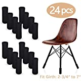 LimBridge 24pcs Chair Socks, Elastic Wood Floor Furniture Chair Leg Feet Protectors Covers Caps Set, Fit Girth from 4'' to 7'', Vertical Knitted Black.