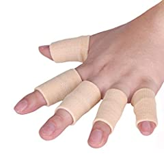 Dense stitching with composite material(nylon, spandex and gelatin silk), breathable and excellent in flexibility. Serve as elastic finger brace to relieve pain in finger joints, alleviate ache against arthritis, tendinitis, trigger finger, swollen f...