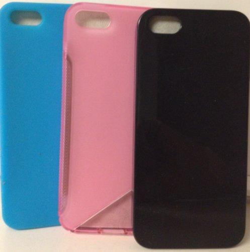 ibright iPhone 5B PACK VON 3Fällen Schwarz, Blau, und Pink