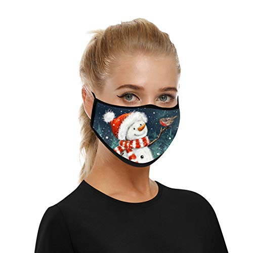 1PC 2021 Adult Face Protection Soft Cotton Washable Reusable Merry Christmas Happy New Year Snowman Printed(A)