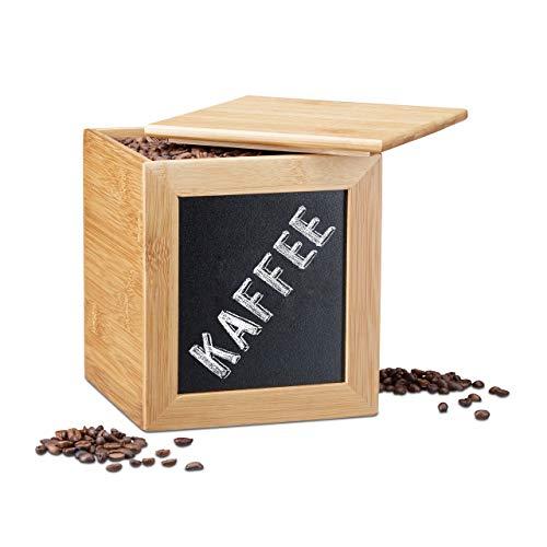 Relaxdays Aufbewahrungsbox mit Tafel, schmale Holzbox, Bambus, mit Deckel, für Küche, HBT: 17 x 15,5 x 15,5 cm, natur
