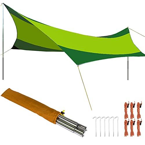 Tienda de Campaña Tarp, 5.5x5.6 M Toldo Camping Impermeable, Toldo de Refugio Impermeable Lona de Duradero Portatil para Hamaca Playa Tienda Hamaca Acampada Refugio al Aire Libre,Fruit+darkgreen