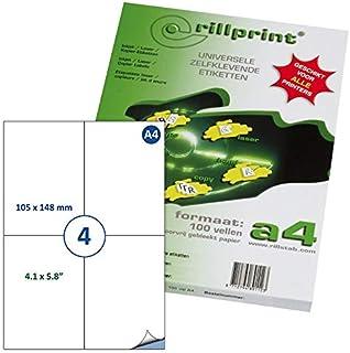 Rillprint Étiquettes auto-adhésives   400 étiquettes   105 x 148 mm   4 étiquettes imprimables par feuille A4  Expédition,...