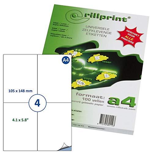 Rillprint Étiquettes auto-adhésives   400 étiquettes   105 x 148 mm   4 étiquettes imprimables par feuille A4  Expédition, prix étiquette collante pour imprimante à jet d'encre et laser