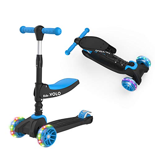 RideVOLO K02 2-in-1 Kick Scooter with Removable Seat Great for 2-5 Years Old – Adjustable Height Extra-Wide Deck PU Flashing...