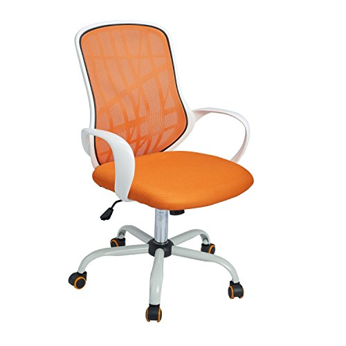 GreenForest Office Chair Mesh Mid-Back Swivel Task Chair with Special Design Back,White-Orange