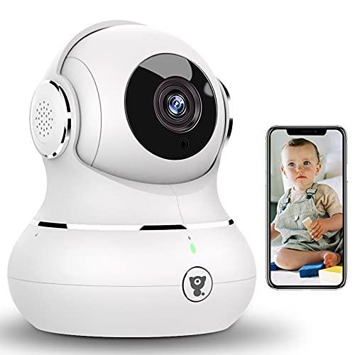 [2021 Upgrade] Überwachungskamera WLAN Kamera, Littlelf Babyphone 1080P Hundekamera mit app, 360°Schwenkbar Bewegungserkennung, Nachtsicht mit Alexa